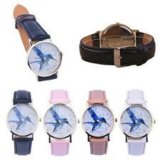 Fashion Women Laddies Bird Pattern Leather Analog Quartz Wrist Watch New Arrival