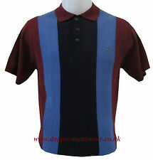 Men's New Gabicci Vintage Knitted Mod Striped Polo Shirt in Port, Mod Clothing