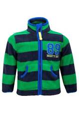 NEW Tots Designer Baby Boys Green Navy Striped Zip Up Funnel Neck Fleece Jacket