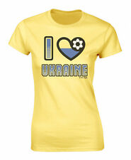 Ladies T-Shirt I LOVE UKRAINE Football Heart Flag Euro 2016