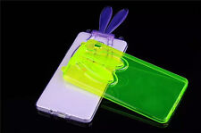 Cute Rabbit Ear Stand Soft Silicone TPU Case For Samsung Galaxy A7+Neck Strap