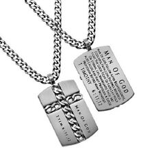 Christian Dog Tag Cross Necklace, MAN OF GOD 1 Timothy 6:11,12, Steel Curb Chain