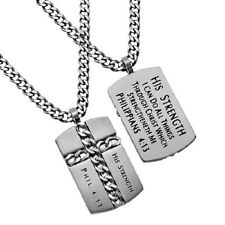 Christian Dog Tag Cross Necklace, HIS STRENGTH Philippians 4:13, Steel Curb