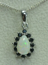 925 Sterling Silver Natural Opal & Sapphire Pear Cluster Drop Pendant / Necklace