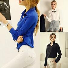 2014 Womens OL Career Business Chiffon Long Sleeve Blouse Button Down Shirt Tops