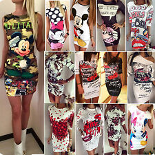 New Sexy Women's Summer Bodycon Mini Tunic Dress Crew Neck Cartoon Long Tee Tops