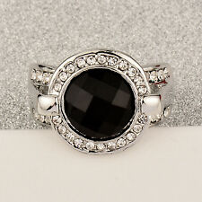 Vintage Jewelry Crystal Round Black Rings For Women 18K White Gold GP Statement