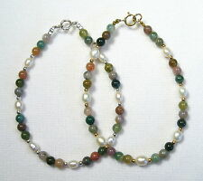 Lyns Jewelry Indian Agate and Freshwater Pearl Bracelet Silver or Gold