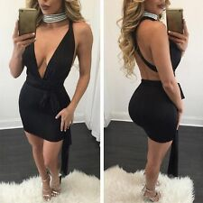 BLK Sexy Women's Deep-v Bandage Bodycon Backless Party Cocktail Club Mini Dress