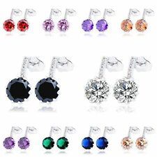 Vintage womens jewelry lucky rainbow big crystal white gold filled stud earrings