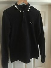 Fred Perry Long Sleeved Polo, Navy Blue And White, UK Medium Slim Fit