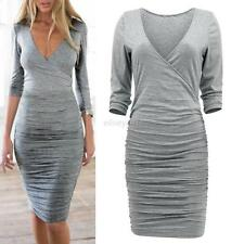 Fashion Women Sexy V-neck Long Sleeve Bodycon Party Cocktail Mini Dress Clubwear
