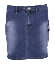Womens Ladies Blue Denim Stretch Jeans Mini Skirt Cargo Pockets Size 6 8 10 12
