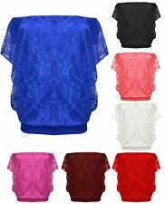 ladies floral lace batwing long-sleeve summer casual loose Tshirt top 8 - 14