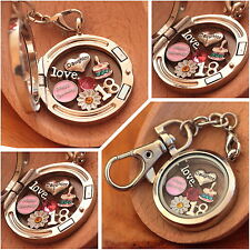 Personalised BIRTHDAY Gift  Floating Memory Locket keyring -30th 40th 50th