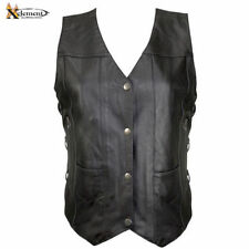 Xelement Ladies Cowhide 10 Pockets Leather Motorcycle Vest (S-3XL)