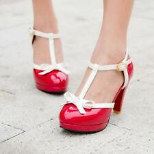 New Sweet Womens Bowknot T Strap High Heel Fashion Wedding Leather Shoes US Size