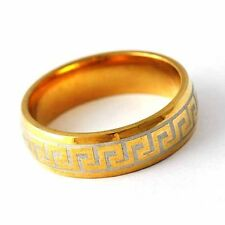 Fashion Vintage Yellow Gold Filled Unique Carving  Unisex Band Ring Size 8-12