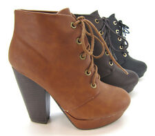 Womens  Fashion Shoes Platform Pumps Almond Toe Heel Ankle Lace Up Bootie Boot