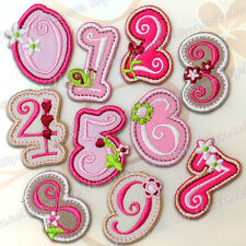 pink cartoon digital embroidered patch iron/sew on kids fancy diy Cloth badge