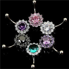 Flower Steel Zircon Crystal Navel Belly Ring Button Bar Body Piercing Jewelry BE