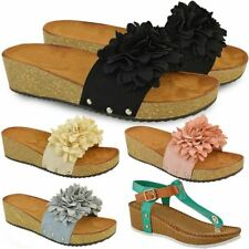New Ladies Womens Wedge Comfort Sandals Cushioned Flip Flops Footbed Shoes Size