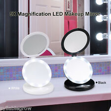 Double Side 1X/5X Magnification Makeup Mirror LED Light Cosmetic Foldable Mirror