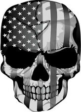 Punisher American Flag Black/White/Gray Exterior Decal - Multiple Sizes