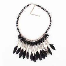 chunky statement rope chain vintage gold chain pendant feather necklace women