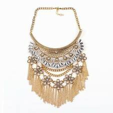 vintage alloy chain tassel crystal chunky statement pendant necklace for women