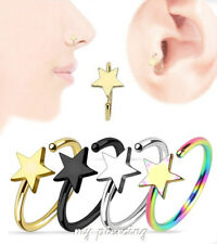 "2pcs  20g~5/16"" Star Titanium IP 316L Surgical Steel Ears Tragus Nose Hoop Ring"