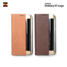 Genuine Nu Buck Leather Flip Cover Cell Mobile Phone Case Samsung Galaxy S7 Edge