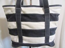 J Crew Large Navy & White Striped Cottn Canvas Carry All Shoulder Tote Bag