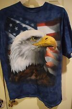 AMERICAN BALD EAGLE TIE-DYE T-SHIRT Liquid Blue Patriotic S M L XL 2XL 3XL NEW