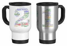 Personalised Travel Mug with Word Art 21st  Birthday gift ,your own words