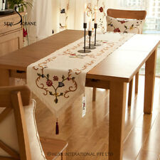 Vintage Floral Abstract Leaves Flowers Embroidered Cotton Linen Table Runner