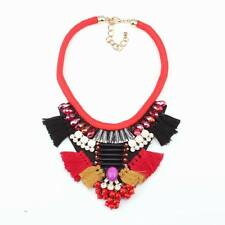 rope chain big cotton necklace crystal pendant chunky statement necklace women