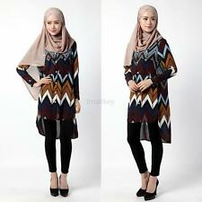 Fashion Women's Abaya Turkish Long Sleeve Tunic Kaftan Beach Party Mini Dress