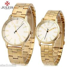 Hot Couple Quartz Watch Water Resistance Stainless Steel Band Wristwatch