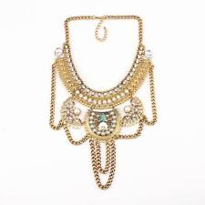 alloy chain chunky statement crystal pearl pendant necklace for women jewelry