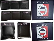 FIZA NY Leather man's Trifold wallet 9 Credit Cards 2 Billfolds New in Box BNWT