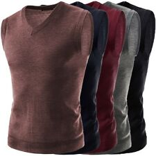 Men's Stylish Casual V-Neck Knitted Sweater Slim Fit Cardigan Cotton Vest Tops