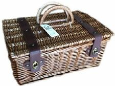 WICKER HAMPER BASKET STORAGE PICNIC CARRIER WITH LINER AND HANDLES