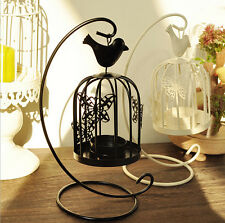Bird Cage Tea Light Candle Lantern Holder Metal Stand Black White Home Decor
