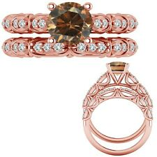 1.15 Ct Champagne Diamond Designer Marriage Promise Ring + Band 14K Rose Gold