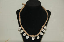 Thick Braided Natural Hemp Cowrie Shell Surfer/Choker Necklace--20""