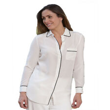 Ladies Milan Off White Pure Silk Light Weight Summer Casual Shirt Blouse