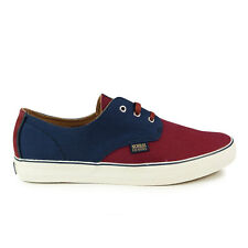 Mens Nicholas Deakins Onslow Navy Burgundy Canvas Shoes