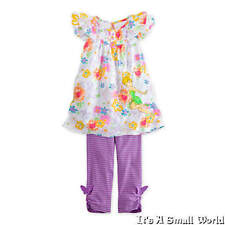 Disney Store Tinker Bell Floral Dress Striped Legging Outfit Set Sz 5 6 7 8 NWT