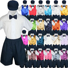 5pc Navy Boys Toddler Formal Vest Shorts Suit Satin Color Vest Tie Hat Set S-4T
